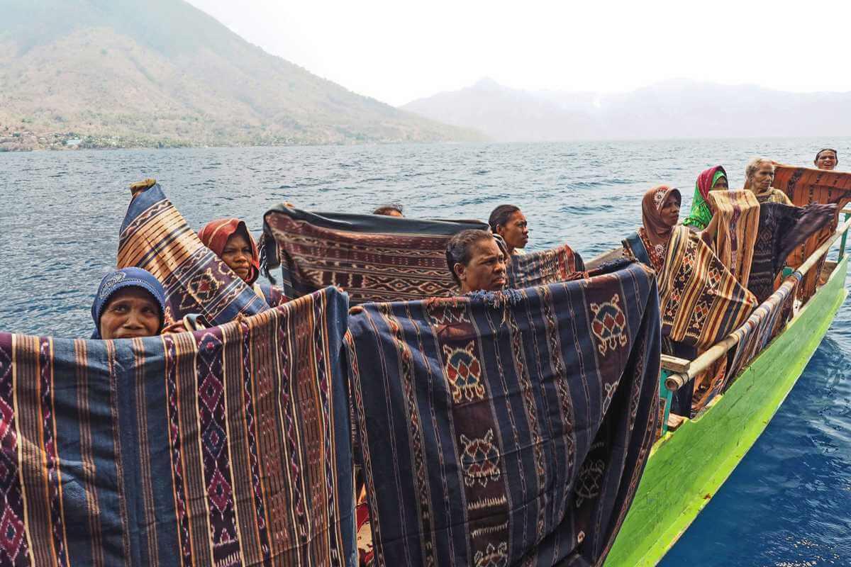 Women selling ikats in Alor Archipelago